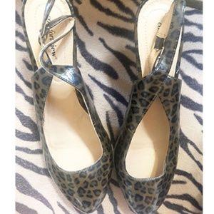 Size 12ww brown women's shoes Leopard heels